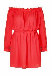 Womens Plus Bardot Woven Shift Dress - Red - 20, Red