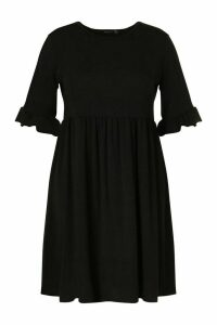 Womens Plus Recycled Basic Smock Dress - Black - 28, Black