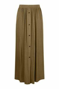 Womens Plus Button Through Maxi Skirt - Green - 24, Green