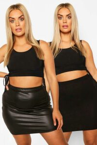 Womens Plus Jersey And Pu Mini Skirt 2 Pack - Black - 20, Black