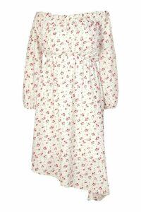 Womens Plus Floral Bardot Asymmetric Midi Dress - White - 20, White