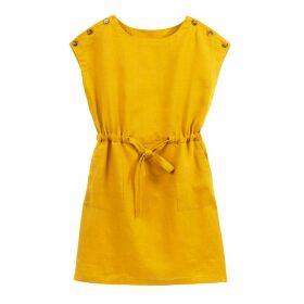 Linen Tie-Waist Buttoned Shift Dress