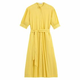 Midi Shirt Dress in Striped Cotton Mix with Elbow-Length Sleeves