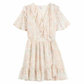 Ruffled Wrapover Mini Dress in Floral Print