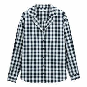 Gingham Cotton Tailored Collar Shirt