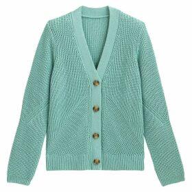 Cotton Chunky Knit Cardigan with V-Neck