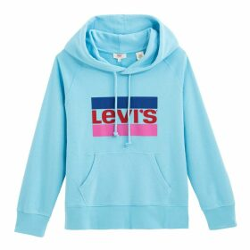 Cotton Mix Slip-On Hoodie with Logo and Pocket