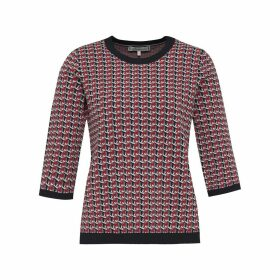 Jacquard Crew-Neck Jumper with Contrasting Trim