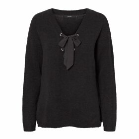Fine Knit V-Neck Jumper with Tie-Front