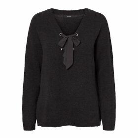 Fine Knit V-Neck Jumper with Tie-Front