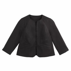 Cropped Fitted Collarless Jacket in Stretch Cotton