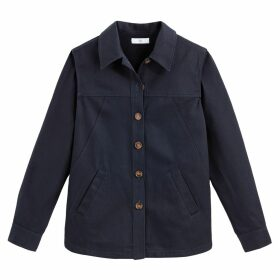 Cotton Utility Jacket with Faux Tortoiseshell Buttons and Pockets