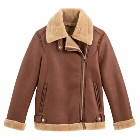 Faux Leather Aviator Biker Jacket with Faux Fur Lining and Pockets