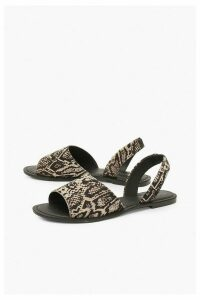 Womens Leather Animal Print Sandals - Black - 8, Black