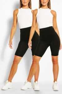 Womens 2 Pack Basic Jersey Cycling Shorts - Black - 8, Black
