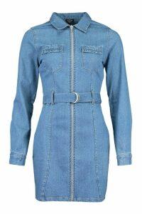 Womens Zip Front Belted Denim Dress - Blue - 14, Blue