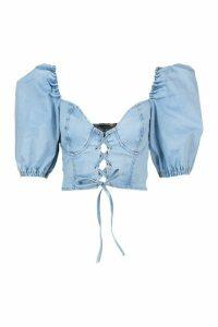 Womens Tie Front Puff Sleeve Corset Top - Blue - 16, Blue
