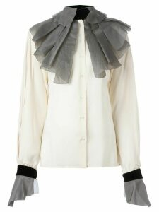 Gianfranco Ferré Pre-Owned pleated collar and cuffs shirt - NEUTRALS