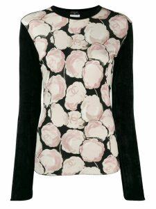 Chanel Pre-Owned velvet effect Camellia print blouse - Black