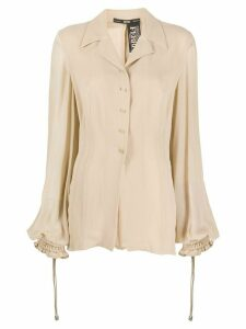 Gianfranco Ferré Pre-Owned 1990s puffy sheer sleeves blouse - BEIGE