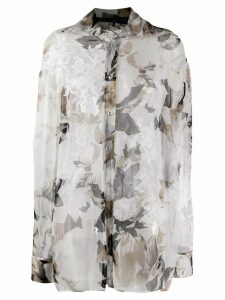 Gianfranco Ferré Pre-Owned 1990s floral sheer shirt - Grey