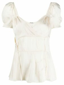 Miu Miu Pre-Owned 1990s gathered details blouse - NEUTRALS