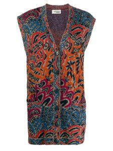 Missoni Pre-Owned 1980s abstract print sleeveless cardigan - ORANGE