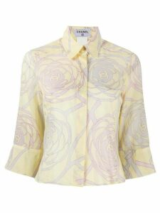 Chanel Pre-Owned 2000s camellia print cropped shirt - Yellow