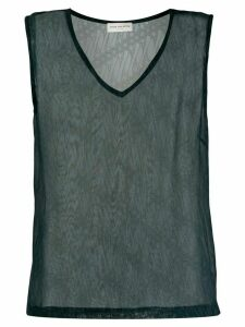 Dries Van Noten Pre-Owned 1990s V-neck sheer top - Blue