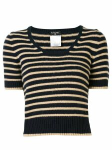 Chanel Pre-Owned striped knitted top - Blue