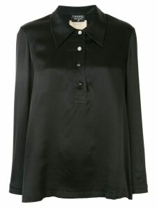 Chanel Pre-Owned 1994s CC logos long sleeve blouse - Black
