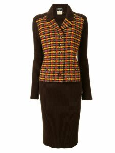 Chanel Pre-Owned 1995 check panel dress - Brown