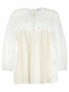 RedValentino crystal embellished blouse - NEUTRALS