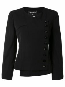 Chanel Pre-Owned 2000s off-centre fastened collarless jacket - Black