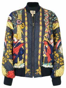 Hermès printed quilted bomber jacket - Blue