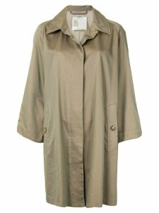 Chanel Pre-Owned loose-fit concealed fastening coat - Brown