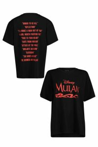 Womens Disney Mulan Graphic Band Tee - Black - 14, Black