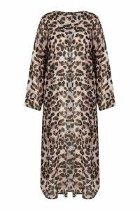 Womens Plus Woven Leopard Longline Kimono - Multi - 18, Multi