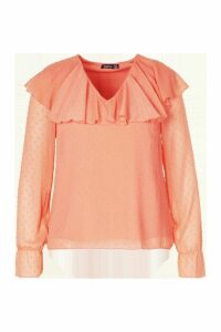 Womens Plus Dobby Mesh Ruffle Plunge Blouse - Orange - 20, Orange
