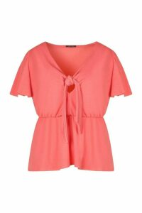 Womens Plus Tie Front Angel Sleeve Blouse - Orange - 20, Orange