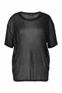 Womens Plus Oversized Glitter Mesh T-Shirt - Black - 18, Black