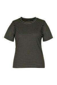 Womens Plus Tonal Stripe Rib T-Shirt - Black - 20, Black