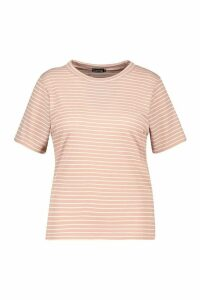 Womens Plus Tonal Stripe Rib T-Shirt - Pink - 20, Pink