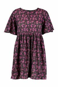 Womens Plus Floral Flutter Sleeve Smock Dress - Black - 24, Black