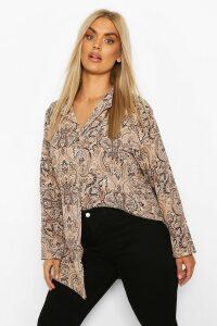 Womens Plus Paisley Print Shirt - Beige - 20, Beige