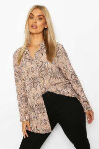 Womens Plus Paisley Print Shirt - Pink - 20, Pink