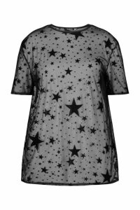 Womens Plus Star Print Oversized Mesh T-Shirt - Black - 20, Black