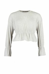 Womens Petite Soft Rib Stripe Volume Sleeve Jumper - Grey - 14, Grey