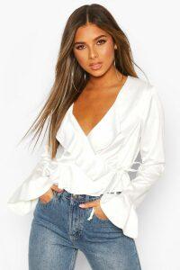 Womens Petite Wrap Front Flare Blouse - White - 14, White