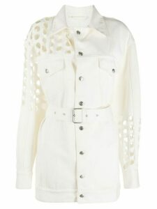 Maison Margiela punch hole denim belted jacket - White